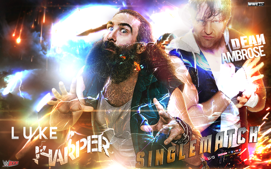 WWE LUCK ARPPER .VS DEAN AMBROSE MATCH CARD by AhmedHeshamG