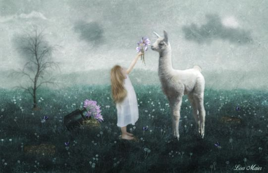 Child and the Llama (11x17) by Grace-love-kindness