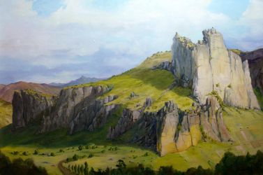 Eifel Mountains - master study after Lessing by Vinkerlid