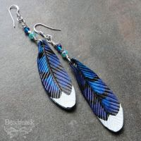 Leather Bluejay Feather Earrings by Beadmask