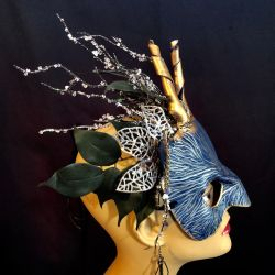 Winter Frost Fairy Leather Mask by aGrimmDesign