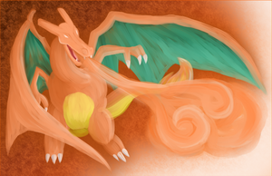Charizard Painting by AllKindsOfYES