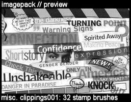Misc. Clippings001: 32 brushes by deviant-dandelion