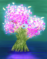 Randomizer sketch 8 - Tree with polygon leaves by Deimonian