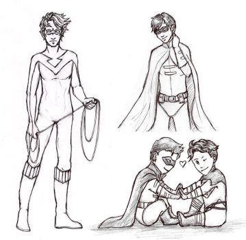 Nightwing, Robin and Superboy by Sjostrand
