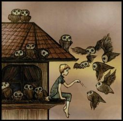 sleepwalker feeding owls by barbarasobczynska