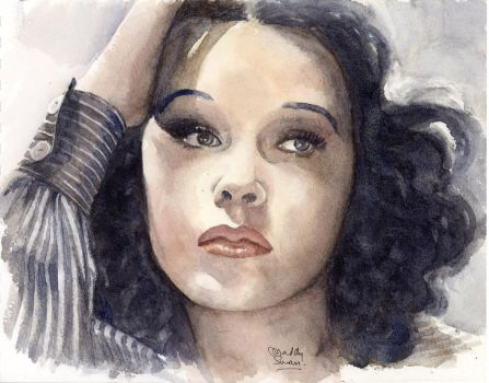 Hedy Lamarr, watercolour - see my YouTube video by MaddySwan