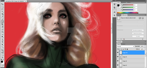 painting Rogue from x men by SamClausVargas