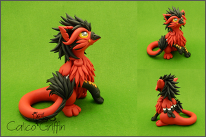 Pavlos, the red griffin - polymer clay by CalicoGriffin
