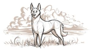 Canine with Clouds by Temiree
