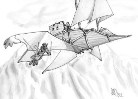 Skyship over Highthrone by Coyotzin