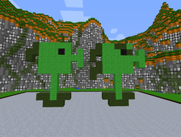 Minecraft Peashooter and Repeater by magolorandmarx
