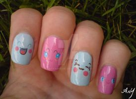 Kawaii Faces Nail Design by AnyRainbow