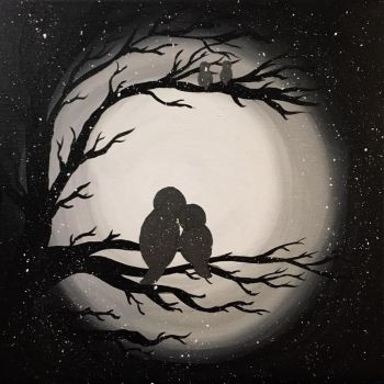 Acrylic Painting - Birds in the snow and the Moon by emi1296