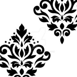 Scroll Damask Art I Black on White by NatPaskell