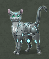 Commission - Anonymous - Robot kitty by shibara-draws-mecha