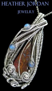 Plume Agate and Labradorite Wire-Wrapped Pendant by HeatherJordanJewelry