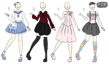 Adoptable: Random Outfits - 3/4 Open by Lulle313