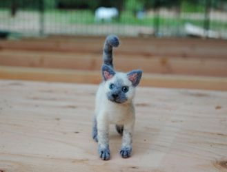 Custom Needle felted mini Lilac point siamese cat by amber-rose-creations