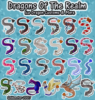 Dragons of the Realm: Ice Dragon Collection by GoldenstarArtist