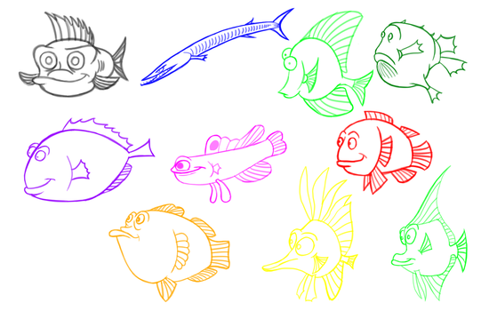 Fish Sketches - 2 by HoodiePatrol89