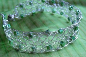 Crocheted Wire Bracelet by ChocoboGoddess