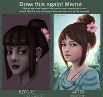 Draw this again meme - hair bun by thirteenthangel