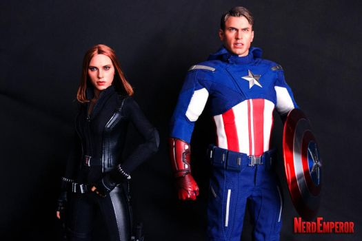 Hot Toys Captain America and Black Widow by ZaEmpera