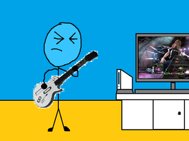 Billy Rocking Out on Guitar Hero III by jakelsm