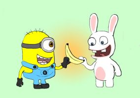 Minion and Rabbid,Best buddies? by dawny