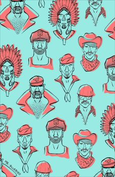 Village People Pattern by Mr-Bluebird