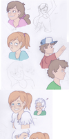 Sketch dump 2 - Gravity Falls and OCs by thalle-my-honey