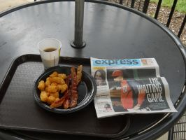 Bacon Hash Brown and Coffee Breakfast by Chlodulfa