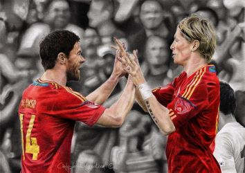 Xabi Alonso and Fernando Torres by cindy-drawings