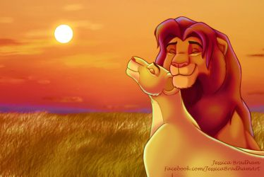 Simba and Nala Cuddles by jessijoke