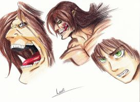 Attack on Titan Eren Jaeger (speedpaint dawn) by leyla-ayadi