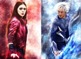 Scarlet Witch and Quicksilver by p1xer