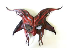 Devil Leather Mask Red and Black Pan Satyr by teonova