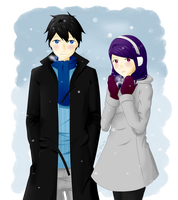 Ayame and Rain in the first snow by Pellichi
