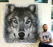 Wolf Large Splatter Painting by AtomiccircuS
