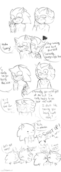 Sonic and Shadow sketches by owoSesameowo