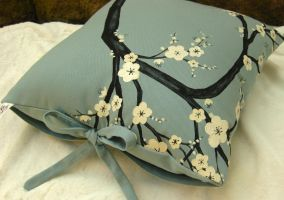 White Cherry Blossoms On Blue by derilyn