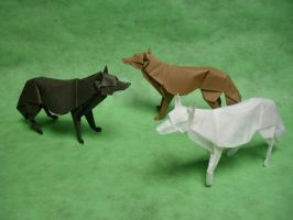 Origami Wolves by origami-artist-galen