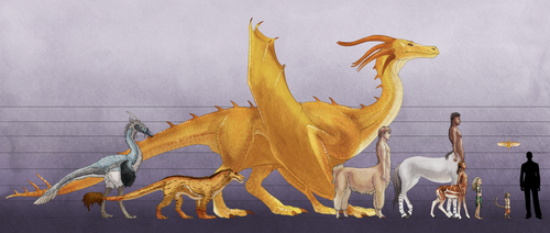 The Creatures and Races of Aleria - Sizechart by Tekila-onRice