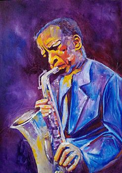 The Sax Player - Oil on Canvas by F. Agustin by pedoy76