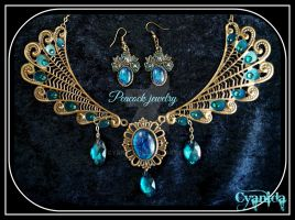 Victorian steampunk Peackock jewelry Set by Cyanida