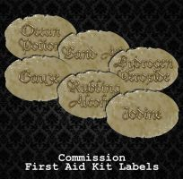 COMMISSION - First Aid Kit Labels by PointyHat