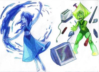 Lapis and Peridot by LadyLore3