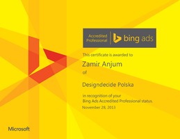 Microsoft Bing Accredited Professional by zamir