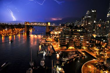 Lightning above Vancouver by Michelle-Fennel
